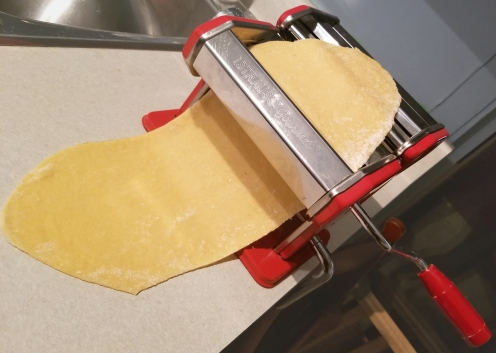 Trying out the pasta maker